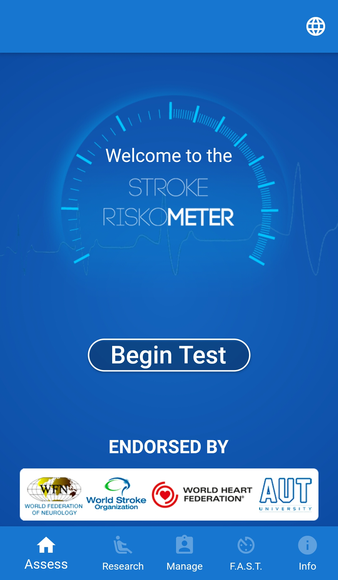 Screenshot of the Stroke Riskometer